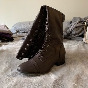 Shoes - Tall Brown Lace Up Boots